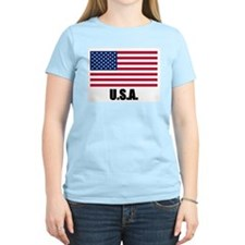 United States Flag Women's Pink T-Shirt