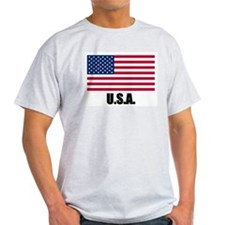 United States Flag T Shirts Ash Grey T-Shirt