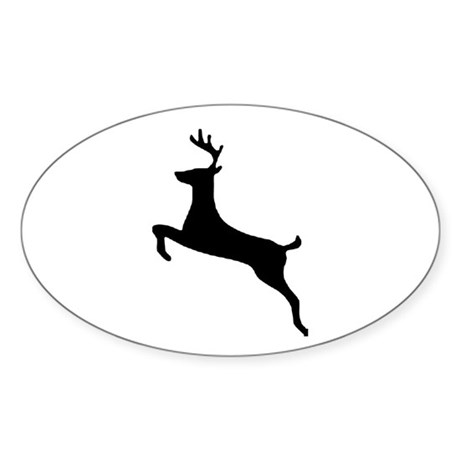 Leaping Deer Oval Sticker