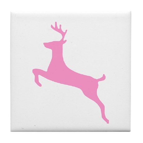 Pink Leaping Deer Tile Coaster