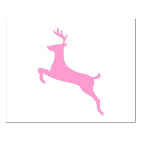 Pink Leaping Deer Small Poster