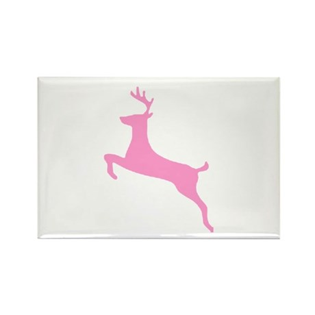 Pink Leaping Deer Rectangle Magnet (100 pack)
