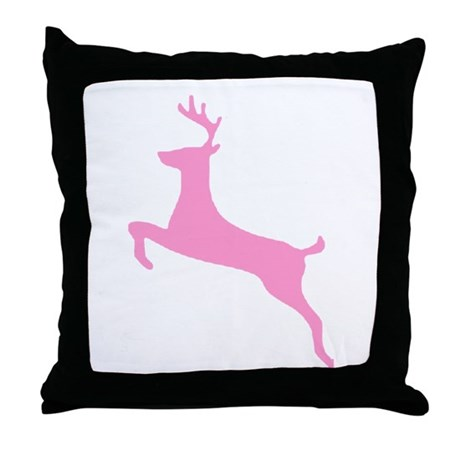 Pink Leaping Deer Throw Pillow