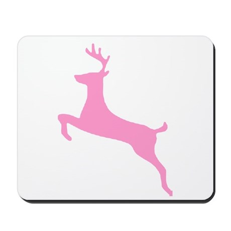 Pink Leaping Deer Mousepad