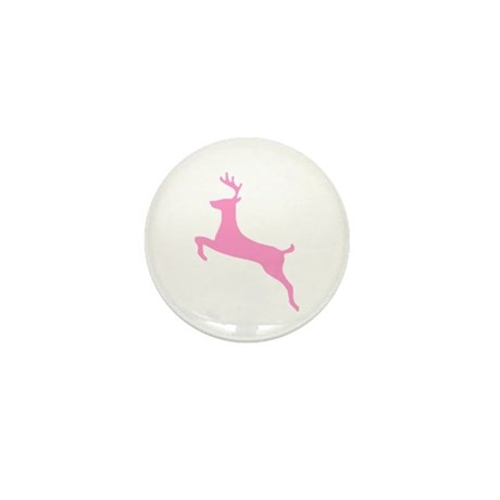 Pink Leaping Deer Mini Button (100 pack)