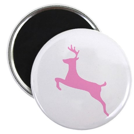 "Pink Leaping Deer 2.25"" Magnet (100 pack)"