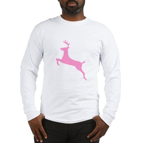 Pink Leaping Deer Long Sleeve T-Shirt