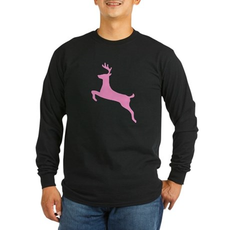 Pink Leaping Deer Long Sleeve Dark T-Shirt