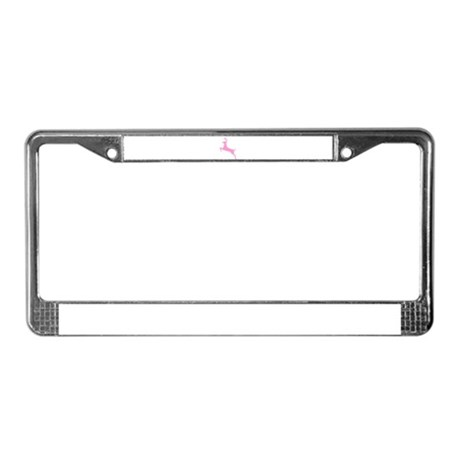 Pink Leaping Deer License Plate Frame