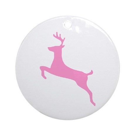 Pink Leaping Deer Ornament (Round)