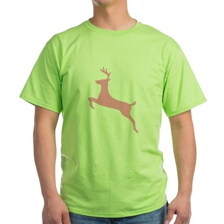 Pink Leaping Deer Green T-Shirt