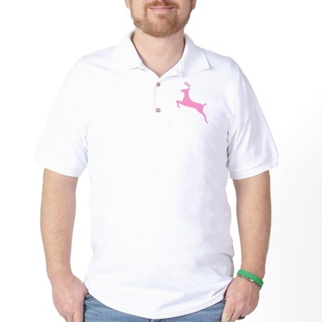 Pink Leaping Deer Golf Shirt