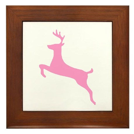 Pink Leaping Deer Framed Tile