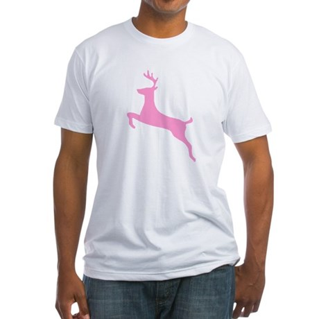 Pink Leaping Deer Fitted T-Shirt