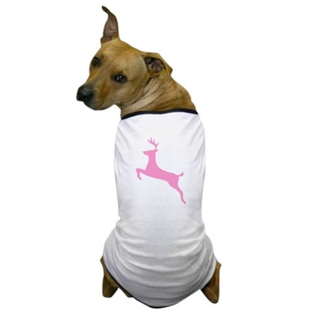 Pink Leaping Deer Dog T-Shirt