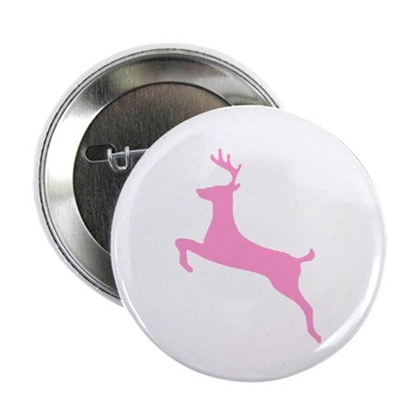 Pink Leaping Deer Button