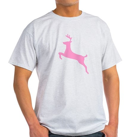 Pink Leaping Deer Ash Grey T-Shirt