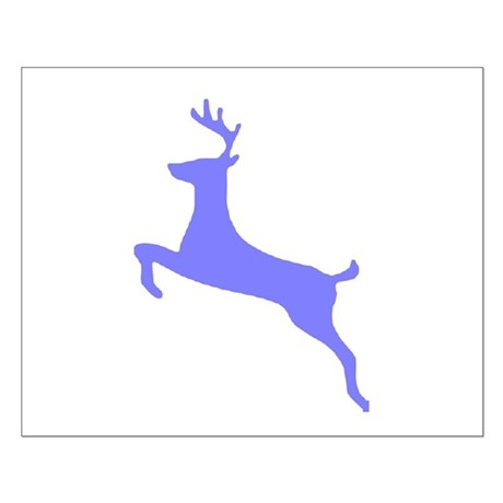 Purple Leaping Deer Small Poster