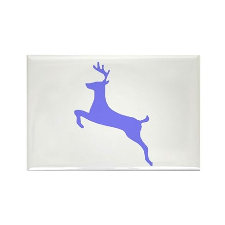 Purple Leaping Deer Rectangle Magnet (10 pack)