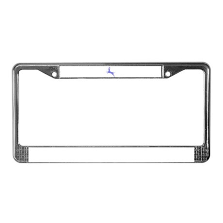 Purple Leaping Deer License Plate Frame