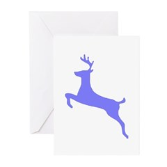 Purple Leaping Deer Greeting Cards (Pk of 10)