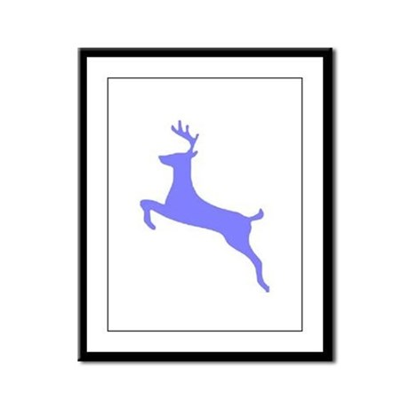 Purple Leaping Deer Framed Panel Print