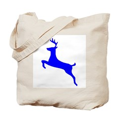 Blue Leaping Deer Tote Bag