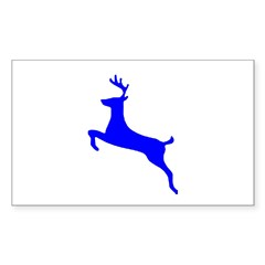 Blue Leaping Deer Rectangle Sticker