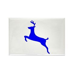 Blue Leaping Deer Rectangle Magnet