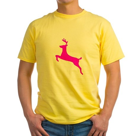 Hot Pink Leaping Deer Yellow T-Shirt