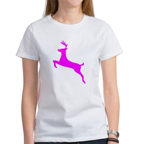 Hot Pink Leaping Deer Women's T-Shirt