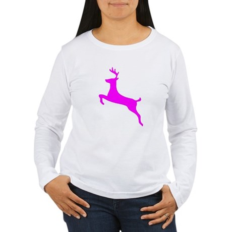 Hot Pink Leaping Deer Women's Long Sleeve T-Shirt