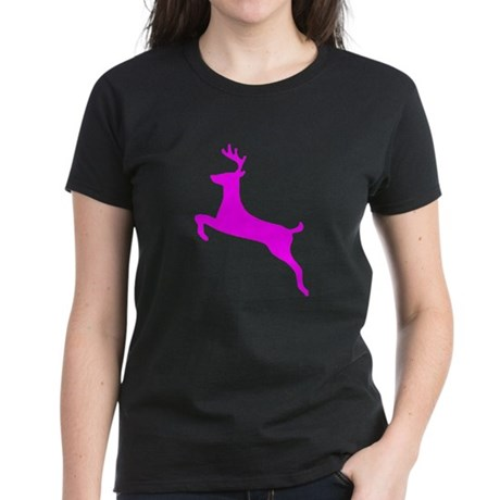 Hot Pink Leaping Deer Women's Dark T-Shirt