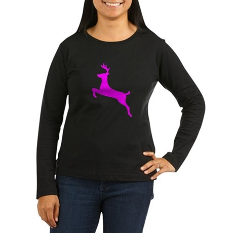 Hot Pink Leaping Deer Women's Long Sleeve Dark T-S