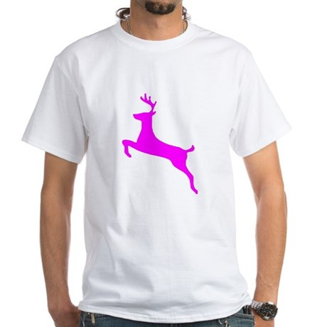 Hot Pink Leaping Deer White T-Shirt