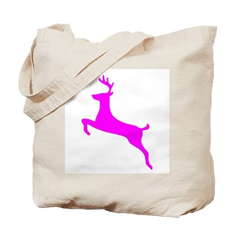 Hot Pink Leaping Deer Tote Bag