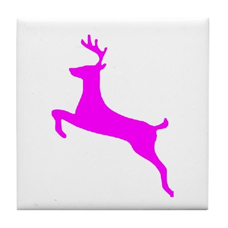 Hot Pink Leaping Deer Tile Coaster