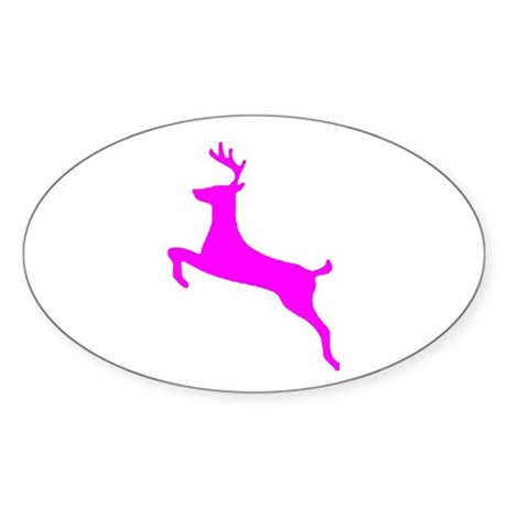 Hot Pink Leaping Deer Oval Sticker