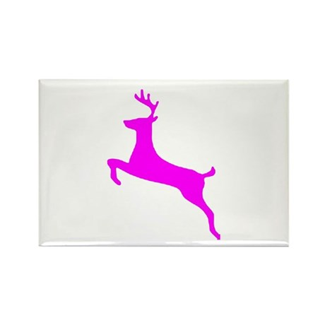 Hot Pink Leaping Deer Rectangle Magnet