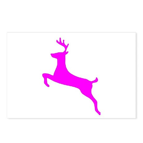 Hot Pink Leaping Deer Postcards (Package of 8)