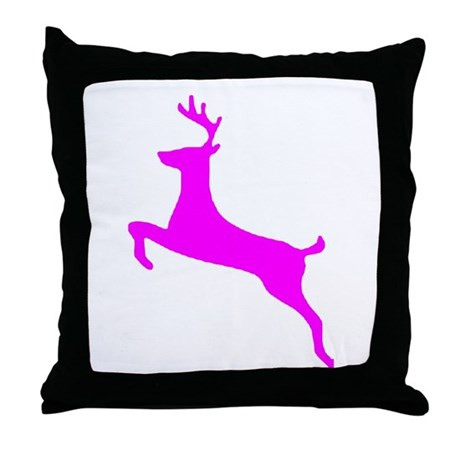 Hot Pink Leaping Deer Throw Pillow