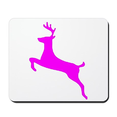 Hot Pink Leaping Deer Mousepad