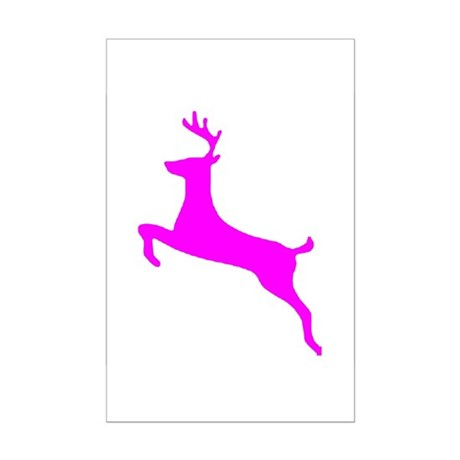 Hot Pink Leaping Deer Mini Poster Print