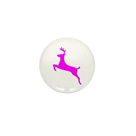Hot Pink Leaping Deer Mini Button
