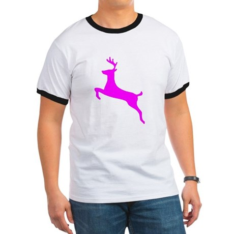 Hot Pink Leaping Deer Ringer T
