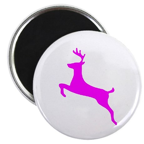 "Hot Pink Leaping Deer 2.25"" Magnet (10 pack)"