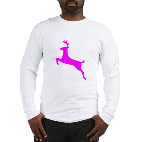 Hot Pink Leaping Deer Long Sleeve T-Shirt