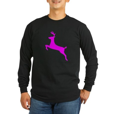 Hot Pink Leaping Deer Long Sleeve Dark T-Shirt