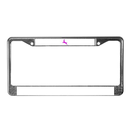 Hot Pink Leaping Deer License Plate Frame