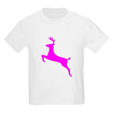 Hot Pink Leaping Deer Kids T-Shirt